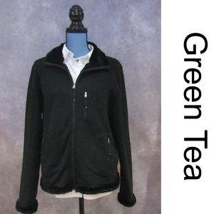 Jackets & Blazers - Green Tea Black Reversible Fleece Faux Fur Jacket